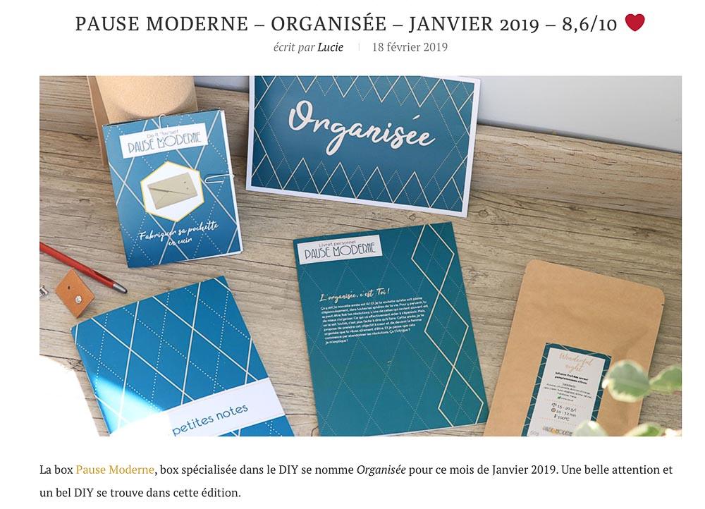 PAUSE MODERNE - article cleinte sur la box_