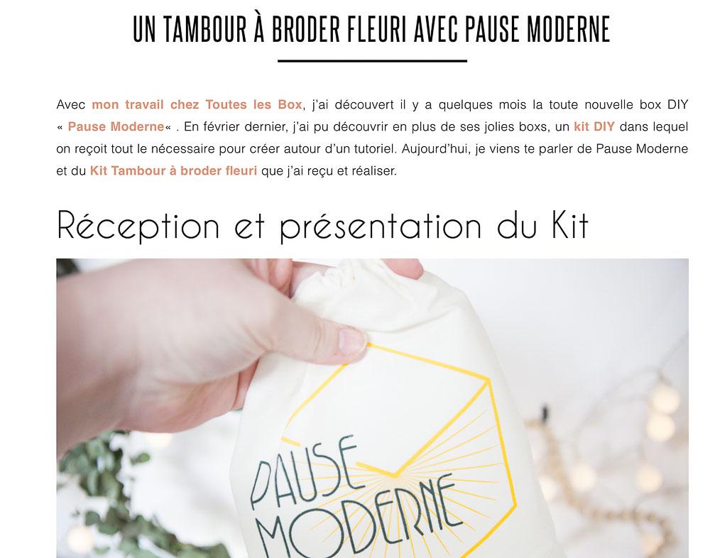 PAUSE MODERNE - article presse blog plume et picoti kit tambour_