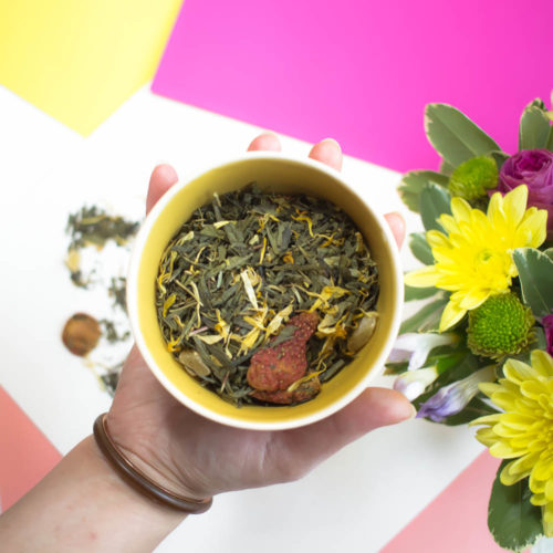 Thé vert fraise & pêche – Couleurs Estivales