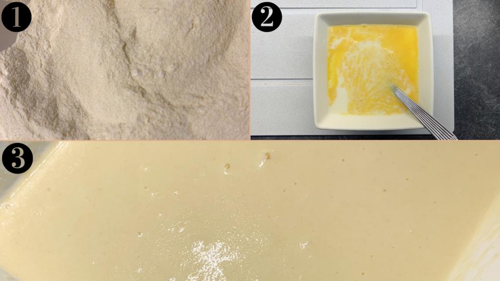 étapes 1, 2 et 3 du gâteau au miel et à la fleur d'oranger