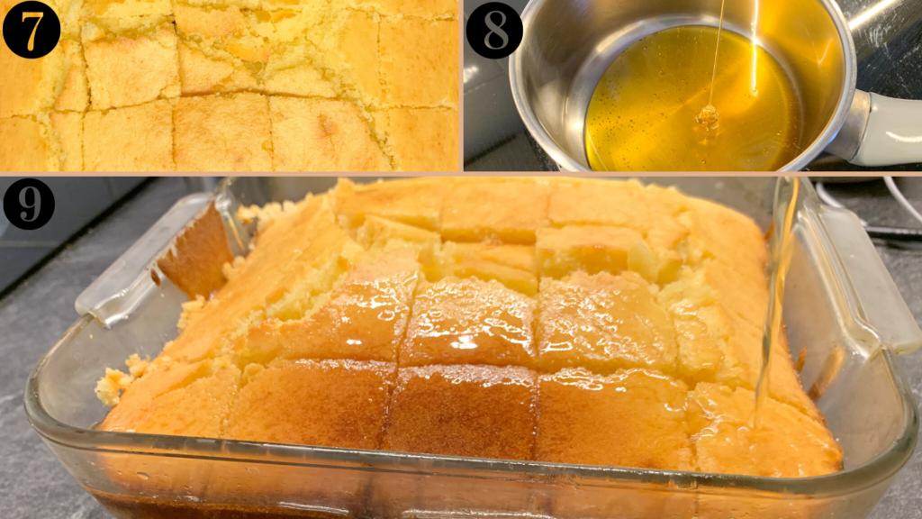 étapes 7, 8, 9 du gâteau au miel et à la fleur d'oranger