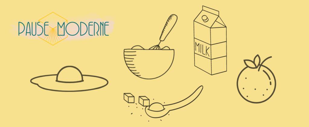 Pause Moderne, ingrédients de recette gâteau au miel et à la fleur d'oranger