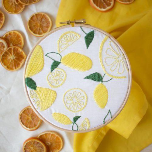Kit DIY broderie – La farandole de citrons