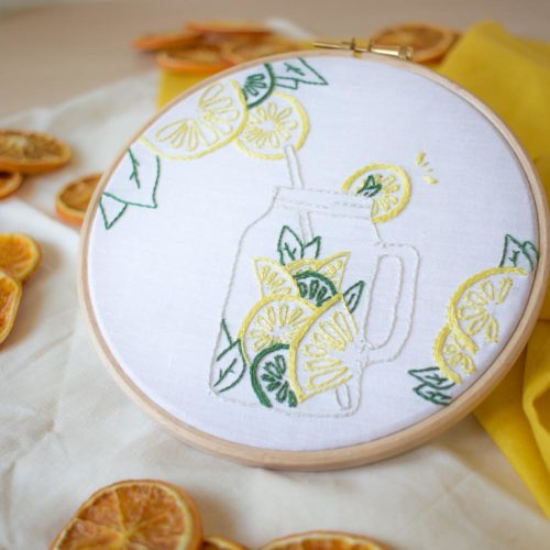 Kit DIY broderie – La jarre aux agrumes
